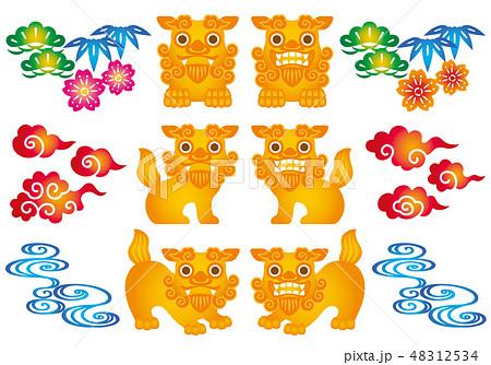 沖縄 紅型 シーサー イラスト 48312534