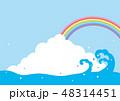 夏 入道雲 海のイラスト 48314451