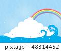 夏 入道雲 海のイラスト 48314452