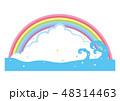 夏 入道雲 海のイラスト 48314463