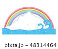 夏 入道雲 海のイラスト 48314464