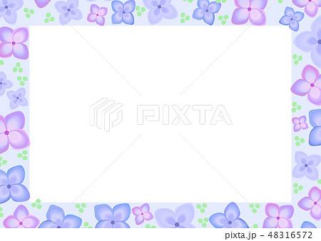 梅雨 花 紫陽花 6月 四角 フレームのイラスト素材