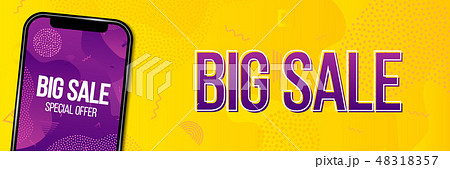 Creative vector illustration of big sale banner with phone isolated on transparent background. Art 48318357