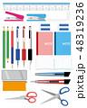 筆記用具イラストアイコンセット Writing utensils icon set. 48319236