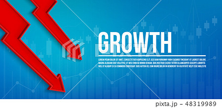 Creative vector illustration 3d arrow financial growth, graphic grow banner background. Art design 48319989