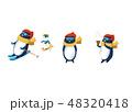スキーをするペンギン 48320418