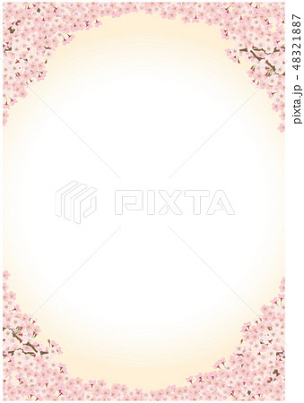 桜 ソメイヨシノ シンプル 背景 イラスト 48321887