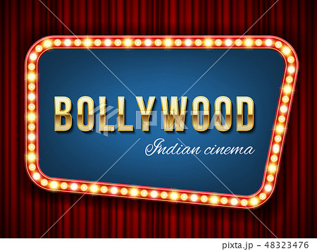 Creative vector illustration of bollywood cinema background. Art design indian movie, cinematography 48323476