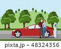 車 自動車 カップルのイラスト 48324356
