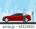 車 自動車 充電中のイラスト 48324691