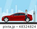 車 自動車 充電中のイラスト 48324824
