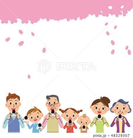 桜の下でおにぎりを食べる三世代家族 48329307