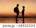 夕焼け シルエット 風景の写真 48332524