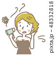 女性 ヘアドライヤー 乾かすのイラスト 48332818