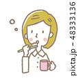 女性 歯ブラシ 歯磨きのイラスト 48333136