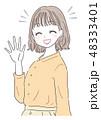 女性 若い 挨拶のイラスト 48333401