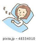 女性 就寝 睡眠のイラスト 48334010