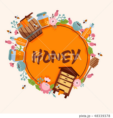 Honey sweet vector apiary farm beekeeping banner backdrop honeymaker bee insect beeswax illustration 48339378