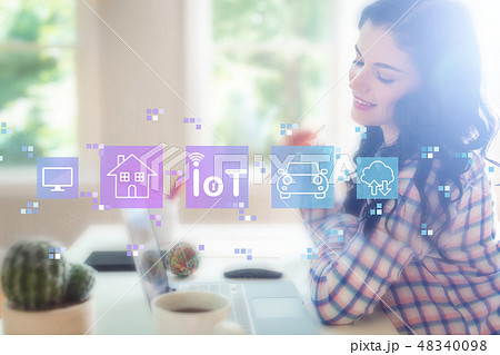 IoT theme with young woman 48340098