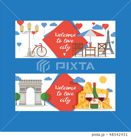 Paris vector pattern french culture eiffel tower and triumphal illustration europe tourism city 48342431