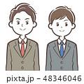 スーツ 男性 会社員のイラスト 48346046