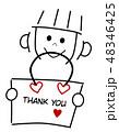メッセージカード メッセージ 女の子のイラスト 48346425