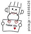 メッセージカード メッセージ 女の子のイラスト 48346426