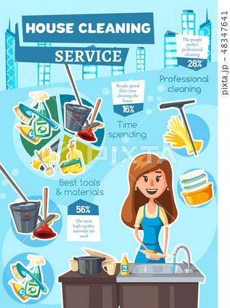 House cleaning service infographic charts 48347641