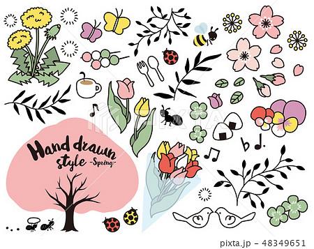 手書き風イラストセット素材〈春〉 48349651