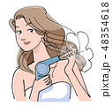 ヘアードライヤー 乾かす 髪のイラスト 48354618