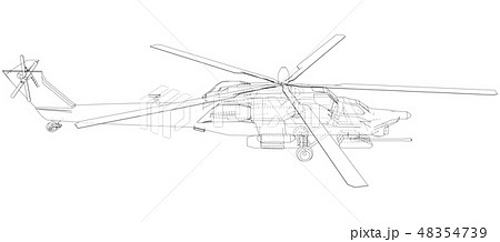 Drawing of helicopter, Vector wireframe concept. Created illustration of 3d. The layers of visible 48354739
