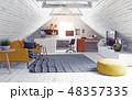屋根裏 屋根裏部屋 空間のイラスト 48357335