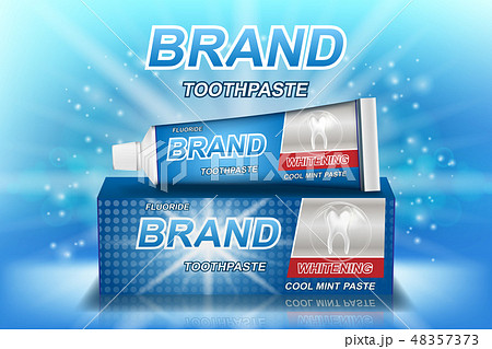 Whitening toothpaste ads isolated on blue. Tooth model and product package design for dental care 48357373