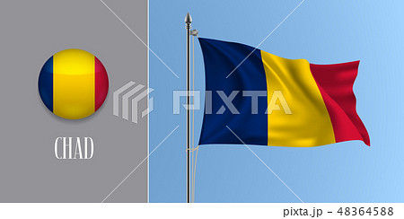 Chad waving flag on flagpole vector illustration. 48364588