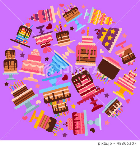Cake shop round round pattern vector illustration. Chocolate and fruity desserts for sweet cake shop 48365307