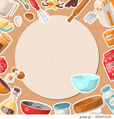 Baking cartoon tools round pattern. Kitchen utensils. Baking ingredients set sugar, vanilla, flour 48365326