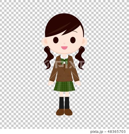 茶色ブレザー・緑色スカートの制服の女の子 48365703