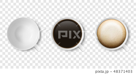 Realistic Vector 3d Glossy Blank White Coffee Cup or Mug Icon Set with Americano, Espresso 48371403