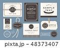 ビンテージ風シンプルカードセット 48373407
