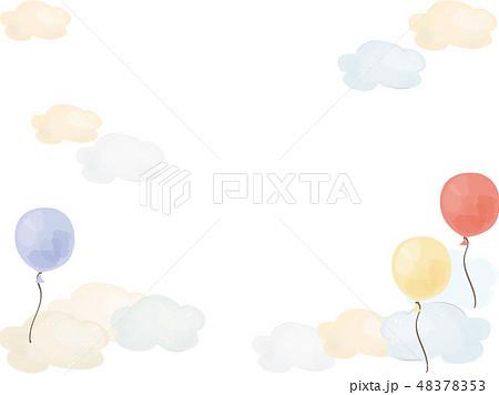 水彩風の風船と雲のフレーム 48378353