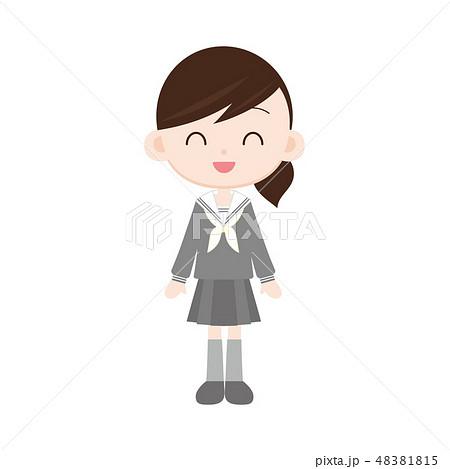 白襟セーラー・灰色の制服の女の子 スマイル 48381815