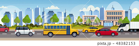 cars and bus driving asphalt road over school building exterior city urban traffic concept cityscape 48382153