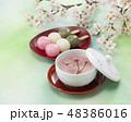 桜茶 桜 花見団子 48386016