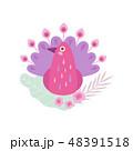 鳥 お花 フラワーのイラスト 48391518