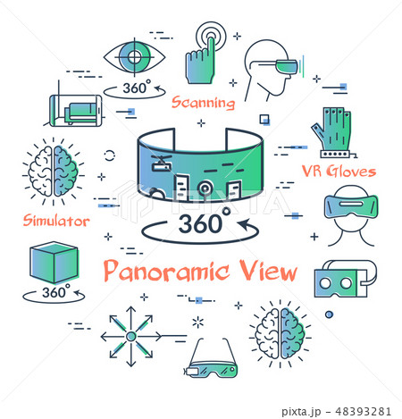 Vector virtual reality concept - VR panoramic view 48393281