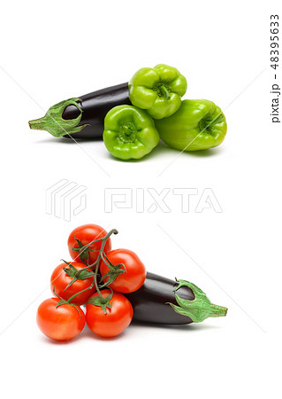 Eggplant and vegetables on a white background 48395633