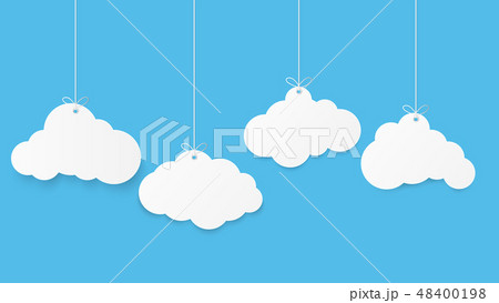 Paper art with cloud on blue sky.  48400198