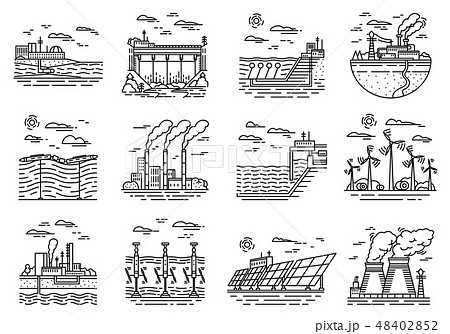 Power plants icons. Set of industrial buildings. Nuclear Factories, Chemical Geothermal, Solar Wind 48402852