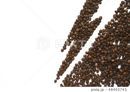 Warning of coffee harmful effect. Lightning from coffee beans isolated on white background. Healthy 48403743