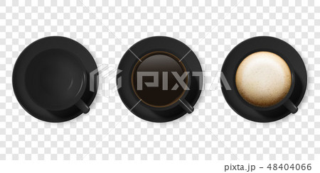 Realistic Vector 3d Glossy Blank Black Coffee Cup or Mug Icon Set with Americano, Espresso 48404066